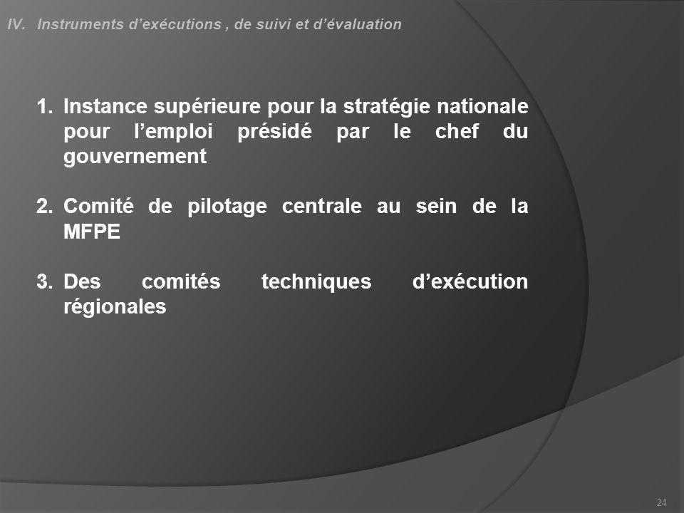 1.Instance supérieure pour la stratégie nationale pour lemploi présidé par le chef du gouvernement 2.Comité de pilotage centrale au sein de la MFPE 3.