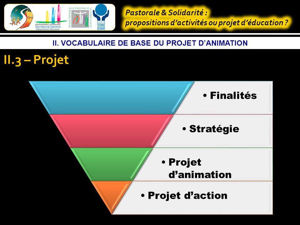II. VOCABULAIRE DE BASE DU PROJET DANIMATION II.2 – Projet Finalités Stratégie Projet danimation Projets daction