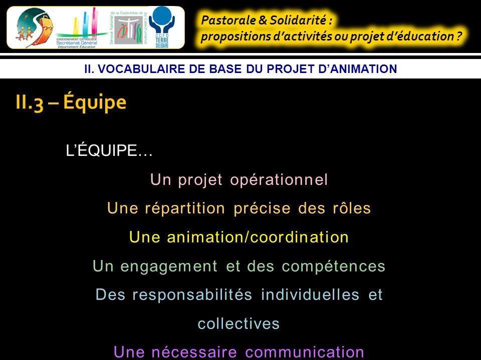 II. VOCABULAIRE DE BASE DU PROJET DANIMATION II.3 – Projet Finalités Stratégie Projet danimation Projet daction