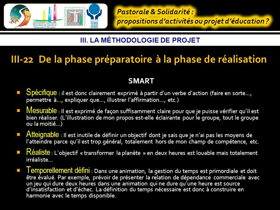III. LA MÉTHODOLOGIE DE PROJET III-22 De la phase préparatoire à la phase de réalisation Définir des objectifs Définir la finalité (= Visée) Définir l