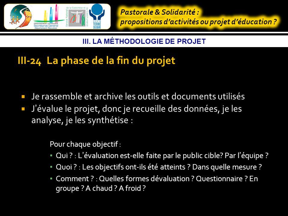 III. LA MÉTHODOLOGIE DE PROJET III.23 La phase de réalisation Je mobilise les moyens humains, matériels et financiers Je m appuie sur ce que j ai Je m