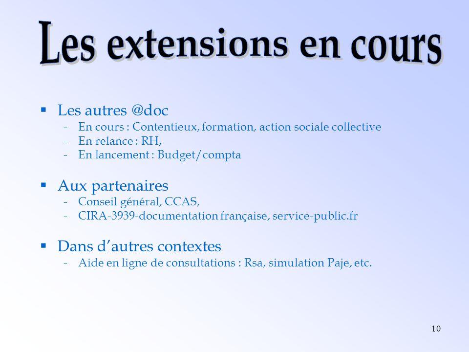 10 Les autres @doc -En cours : Contentieux, formation, action sociale collective -En relance : RH, -En lancement : Budget/compta Aux partenaires -Cons