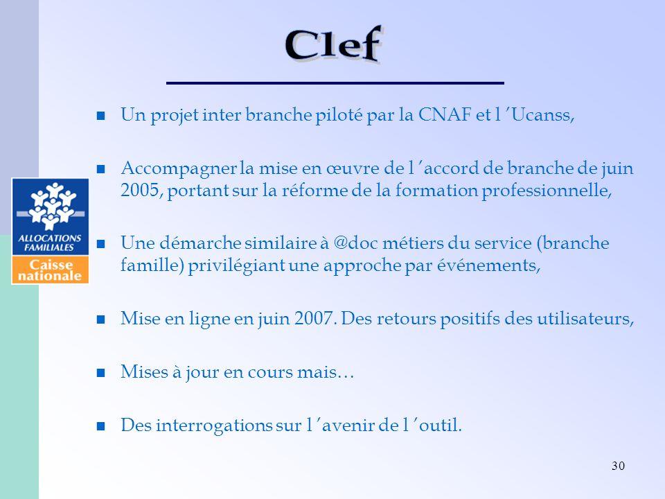 30 Un projet inter branche piloté par la CNAF et l Ucanss, Accompagner la mise en œuvre de l accord de branche de juin 2005, portant sur la réforme de