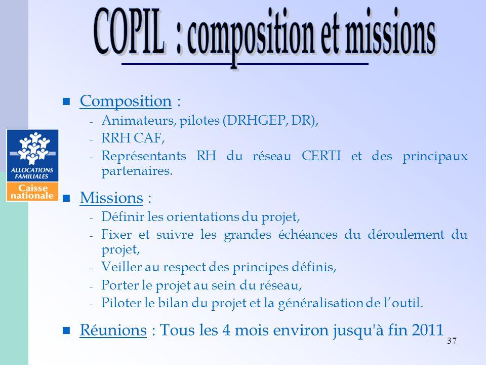 37 Composition : - Animateurs, pilotes (DRHGEP, DR), - RRH CAF, - Représentants RH du réseau CERTI et des principaux partenaires. Missions : - Définir