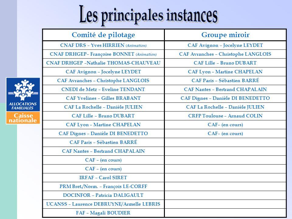 39 Comité de pilotageGroupe miroir CNAF DRS – Yves HIRRIEN (Animation) CAF Avignon – Jocelyne LEYDET CNAF DRHGEP– Françoise BONNET (Animation) CAF Avr