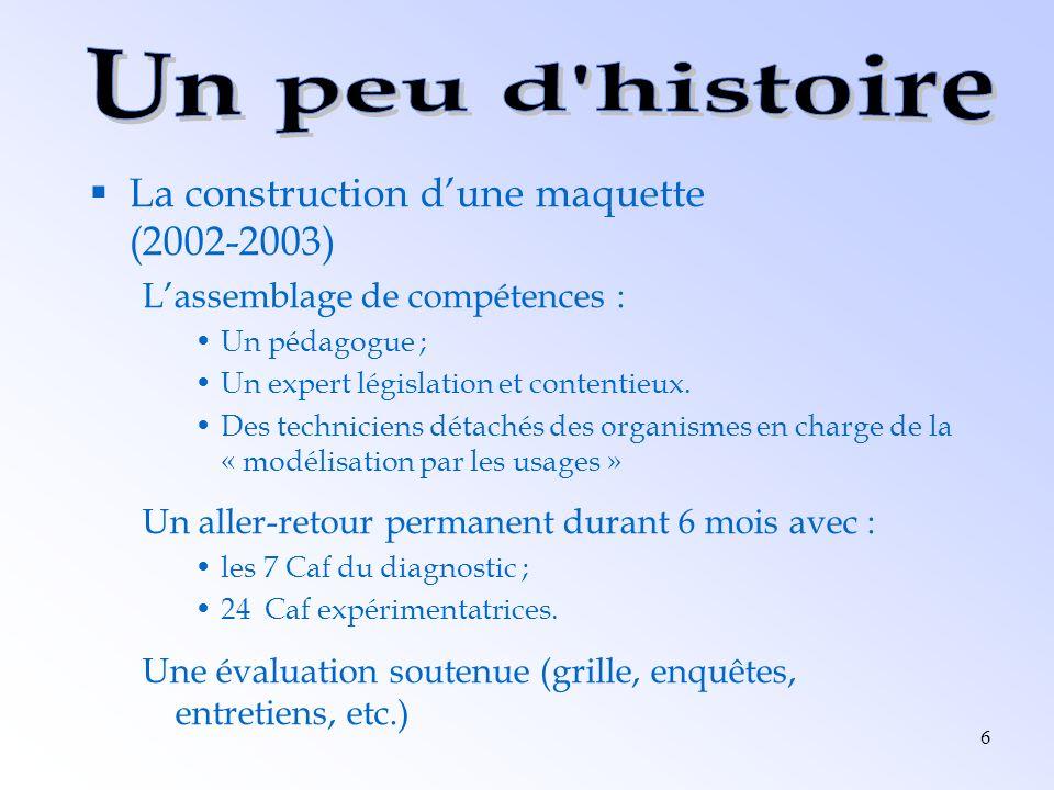 6 La construction dune maquette (2002-2003) Lassemblage de compétences : Un pédagogue ; Un expert législation et contentieux. Des techniciens détachés