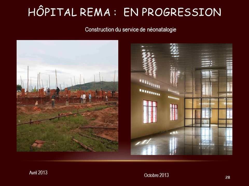 HÔPITAL REMA : EN PROGRESSION Avril 2013 Octobre 2013 Construction du service de néonatalogie 28
