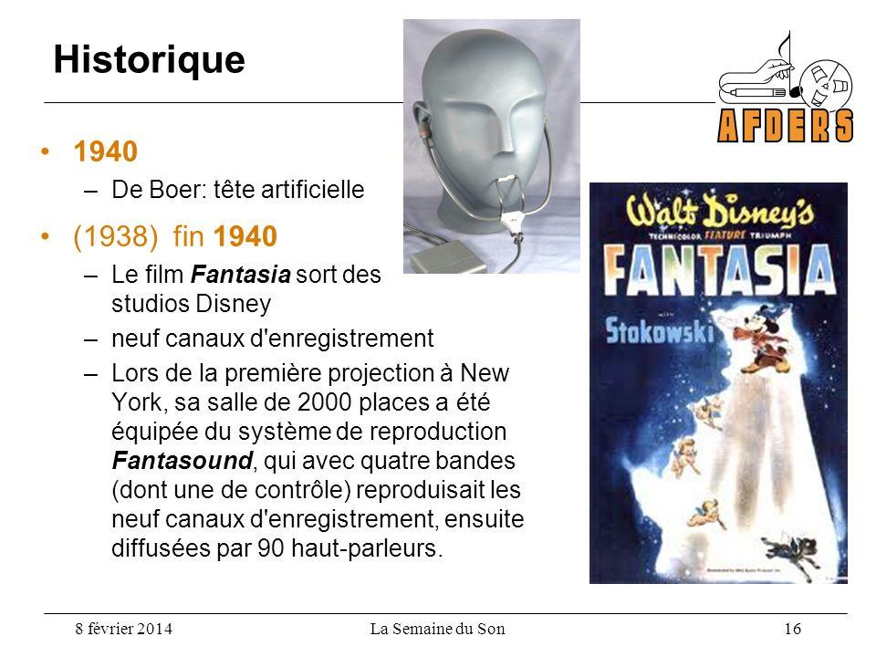 Historique 1940 –De Boer: tête artificielle (1938) fin 1940 –Le film Fantasia sort des studios Disney –neuf canaux d'enregistrement –Lors de la premiè