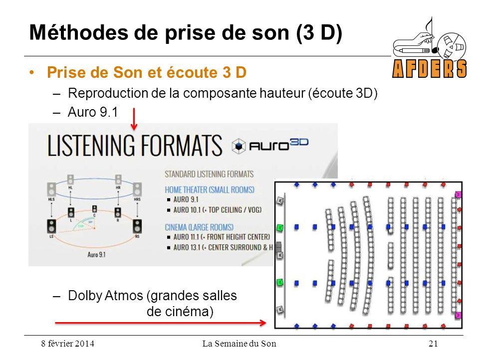 Méthodes de prise de son (3 D) 8 février 2014 Prise de Son et écoute 3 D –Reproduction de la composante hauteur (écoute 3D) –Auro 9.1 La Semaine du So
