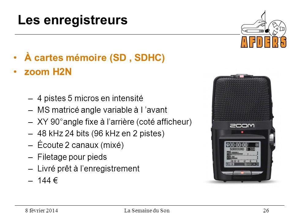 À cartes mémoire (SD, SDHC) zoom H2N –4 pistes 5 micros en intensité –MS matricé angle variable à l avant –XY 90°angle fixe à larrière (coté afficheur