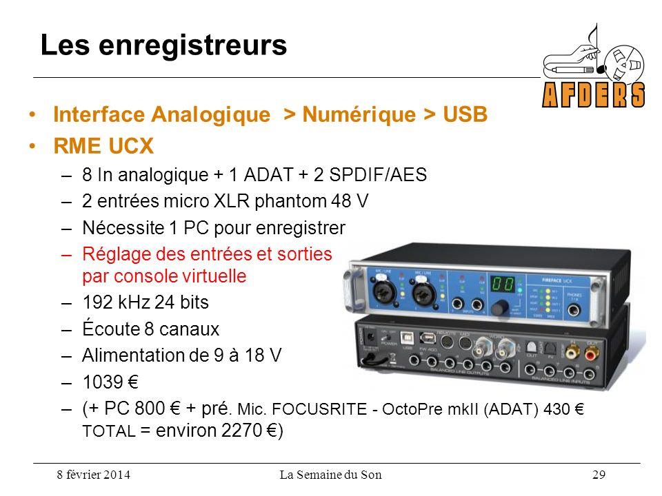Interface Analogique > Numérique > USB RME UCX –8 In analogique + 1 ADAT + 2 SPDIF/AES –2 entrées micro XLR phantom 48 V –Nécessite 1 PC pour enregist