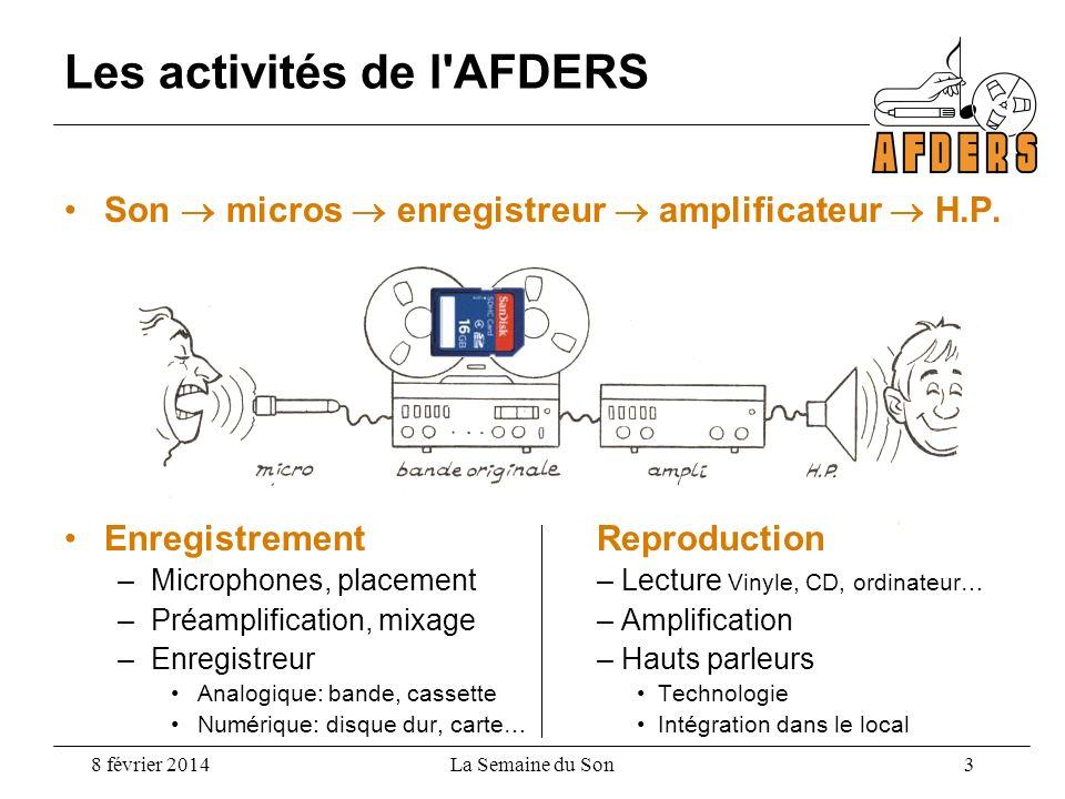 8 février 2014La Semaine du Son 3 Les activités de l'AFDERS Son micros enregistreur amplificateur H.P. EnregistrementReproduction –Microphones, placem