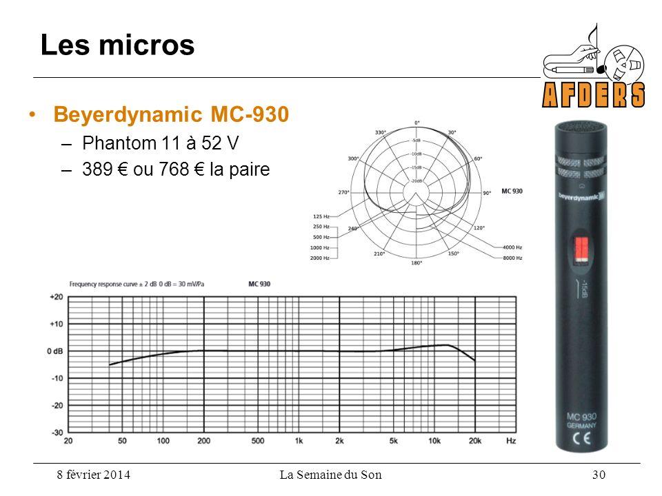 Beyerdynamic MC-930 –Phantom 11 à 52 V –389 ou 768 la paire Les micros 8 février 2014La Semaine du Son 30