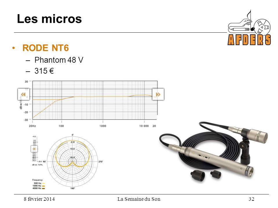 Les micros RODE NT6 –Phantom 48 V –315 8 février 2014La Semaine du Son 32