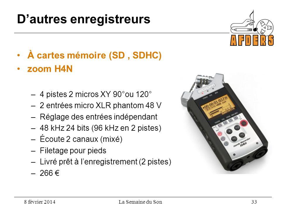 Dautres enregistreurs À cartes mémoire (SD, SDHC) zoom H4N –4 pistes 2 micros XY 90°ou 120° –2 entrées micro XLR phantom 48 V –Réglage des entrées ind
