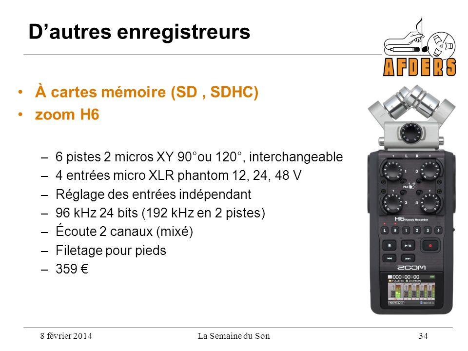 Dautres enregistreurs À cartes mémoire (SD, SDHC) zoom H6 –6 pistes 2 micros XY 90°ou 120°, interchangeable –4 entrées micro XLR phantom 12, 24, 48 V