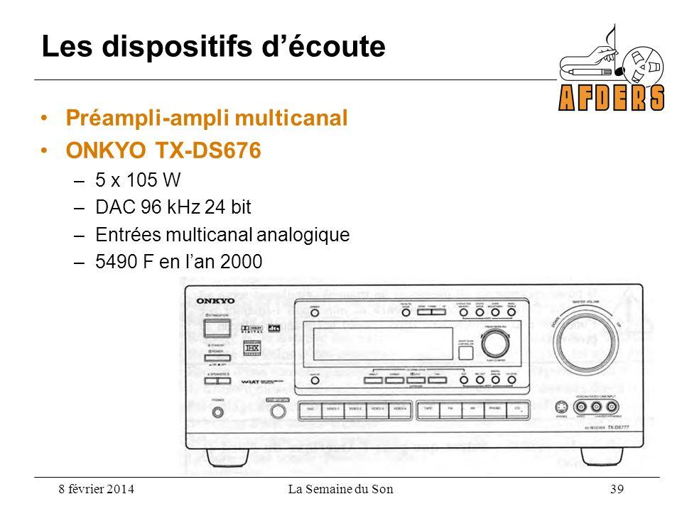 Préampli-ampli multicanal ONKYO TX-DS676 –5 x 105 W –DAC 96 kHz 24 bit –Entrées multicanal analogique –5490 F en lan 2000 Les dispositifs découte 8 fé