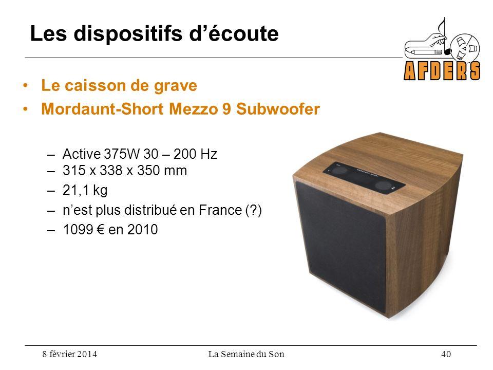 Le caisson de grave Mordaunt-Short Mezzo 9 Subwoofer –Active 375W 30 – 200 Hz –315 x 338 x 350 mm –21,1 kg –nest plus distribué en France (?) –1099 en