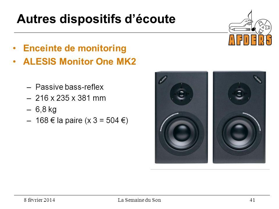 Enceinte de monitoring ALESIS Monitor One MK2 –Passive bass-reflex –216 x 235 x 381 mm –6,8 kg –168 la paire (x 3 = 504 ) Autres dispositifs découte 8