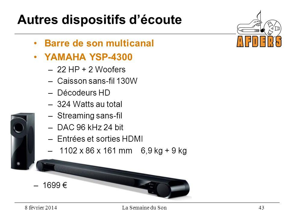 Barre de son multicanal YAMAHA YSP-4300 –22 HP + 2 Woofers –Caisson sans-fil 130W –Décodeurs HD –324 Watts au total –Streaming sans-fil –DAC 96 kHz 24