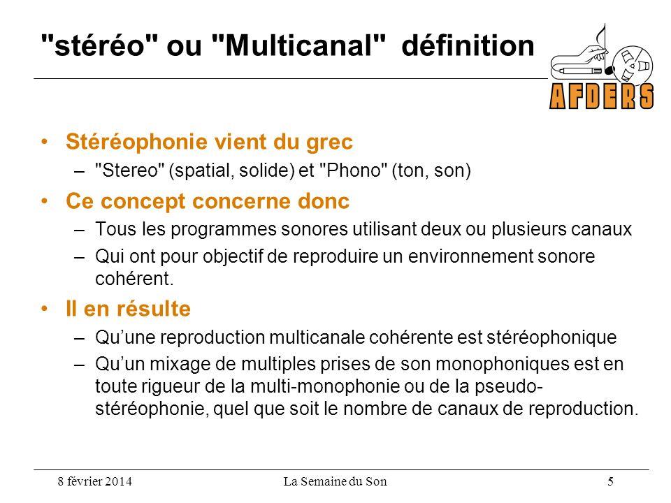 stéréo ou Multicanal définition Stéréophonie vient du grec – Stereo (spatial, solide) et Phono (ton, son) Ce concept concerne donc –Tous les programmes sonores utilisant deux ou plusieurs canaux –Qui ont pour objectif de reproduire un environnement sonore cohérent.