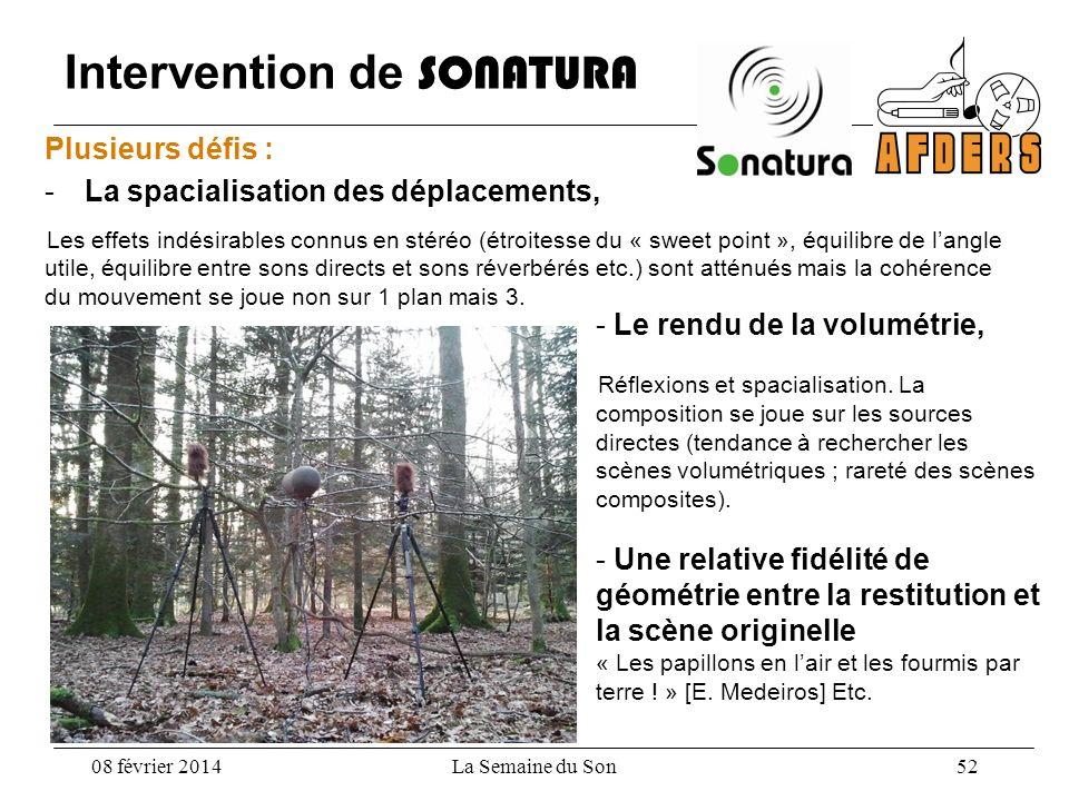Intervention de SONATURA Plusieurs défis : -La spacialisation des déplacements, Les effets indésirables connus en stéréo (étroitesse du « sweet point