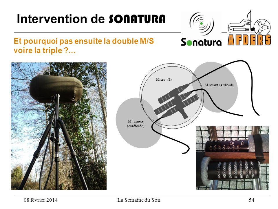 Intervention de SONATURA 08 février 2014La Semaine du Son 54 M avant cardioïde M arrière (cardioïde) Micro «8» Et pourquoi pas ensuite la double M/S v
