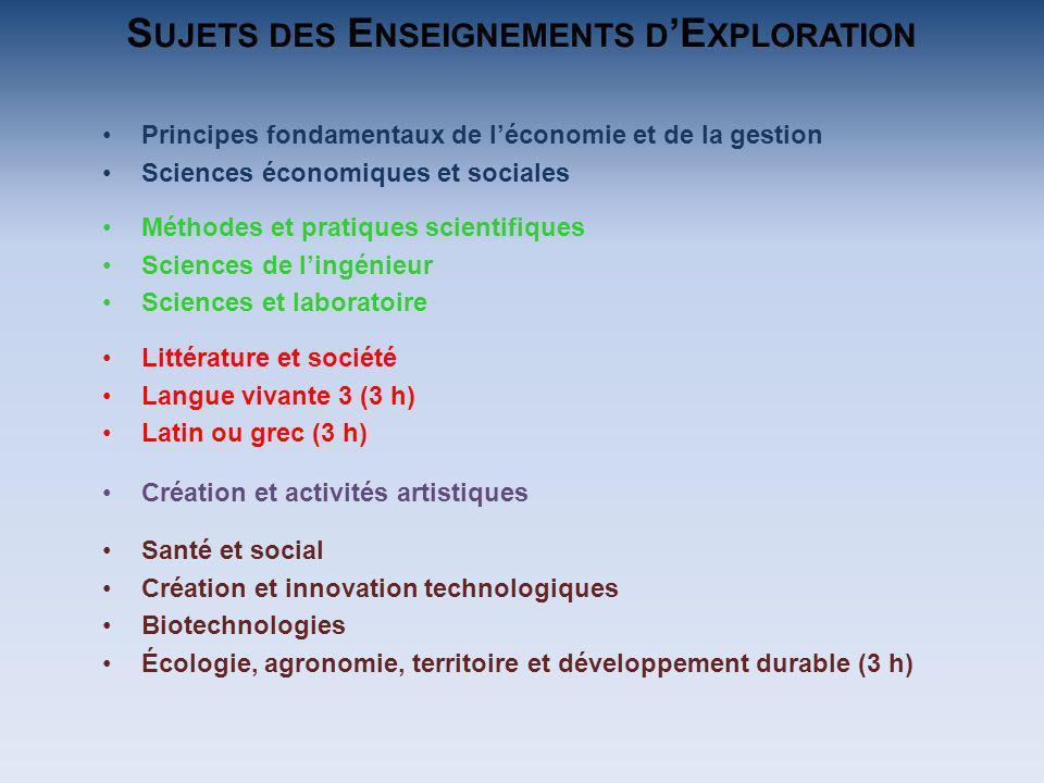 Principes fondamentaux de léconomie et de la gestion Sciences économiques et sociales Méthodes et pratiques scientifiques Sciences de lingénieur Scien