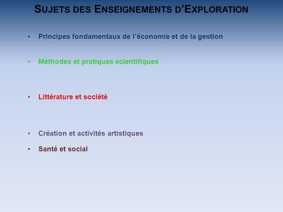 Principes fondamentaux de léconomie et de la gestion Méthodes et pratiques scientifiques Création et activités artistiques Littérature et société Sant