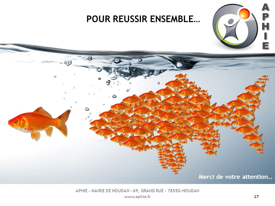 www.aphie.fr17 POUR REUSSIR ENSEMBLE… APHIE - MAIRIE DE HOUDAN - 69, GRAND RUE - 78550-HOUDAN Merci de votre attention…