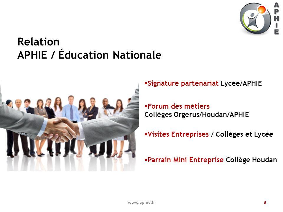 Relation APHIE / Éducation Nationale 3www.aphie.fr Signature partenariat Lycée/APHIE Forum des métiers Collèges Orgerus/Houdan/APHIE Visites Entrepris