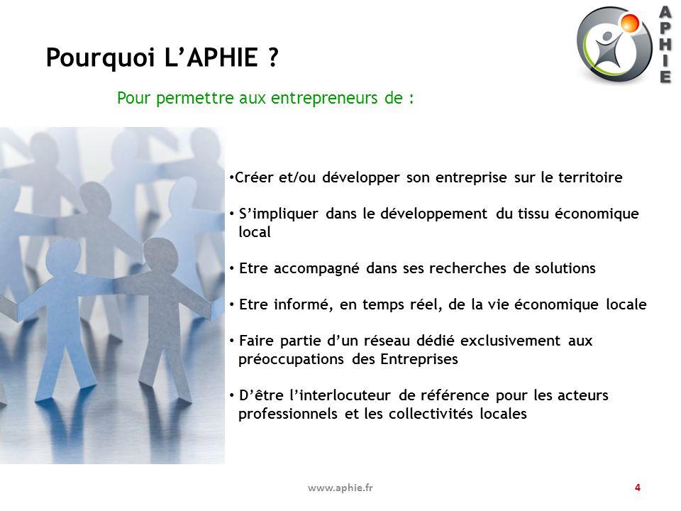 Pourquoi LAPHIE ? www.aphie.fr4 Créer et/ou développer son entreprise sur le territoire Simpliquer dans le développement du tissu économique local Etr