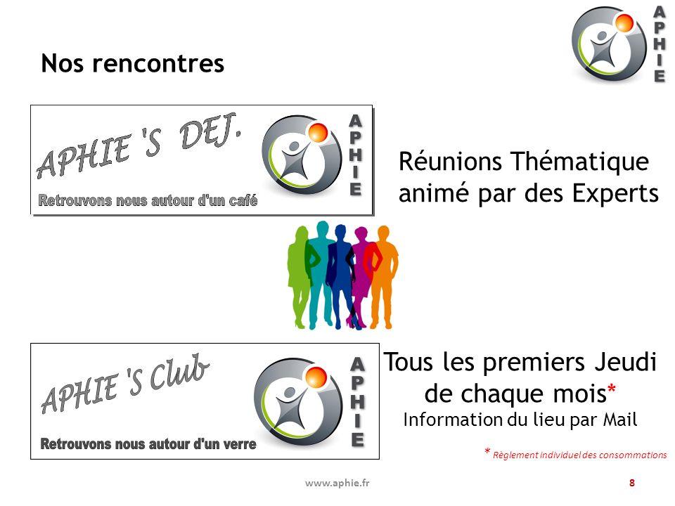 Nos rencontres www.aphie.fr8 Tous les premiers Jeudi de chaque mois* Information du lieu par Mail * Règlement individuel des consommations Réunions Th