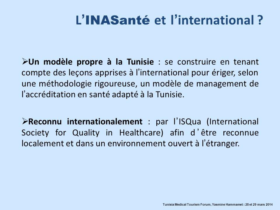 L INASanté et linternational ? Un modèle propre à la Tunisie : se construire en tenant compte des leçons apprises à linternational pour ériger, selon