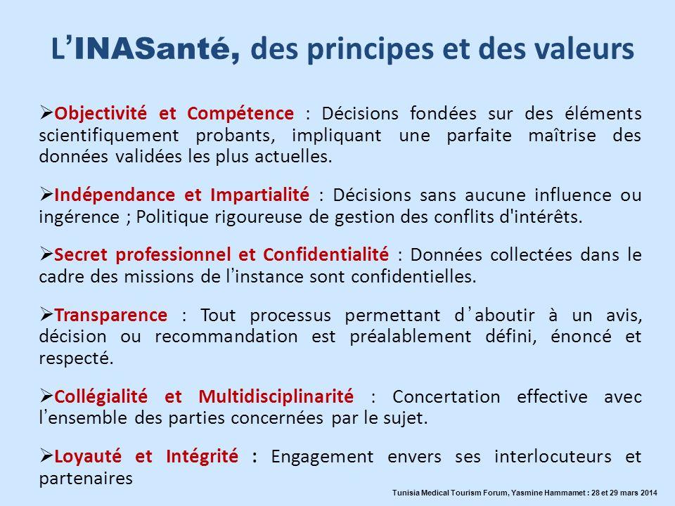 L INASanté, des principes et des valeurs Objectivité et Compétence : Décisions fondées sur des éléments scientifiquement probants, impliquant une parf