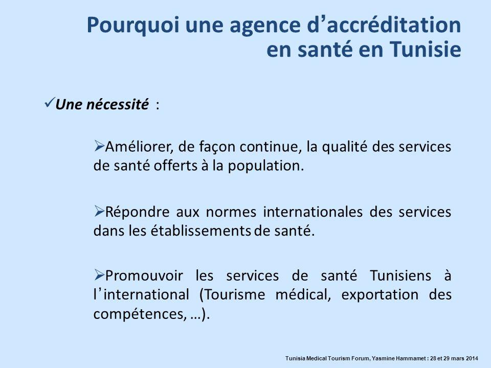 Pourquoi une agence daccréditation en santé en Tunisie Répondre aux normes internationales des services dans les établissements de santé. Améliorer, d
