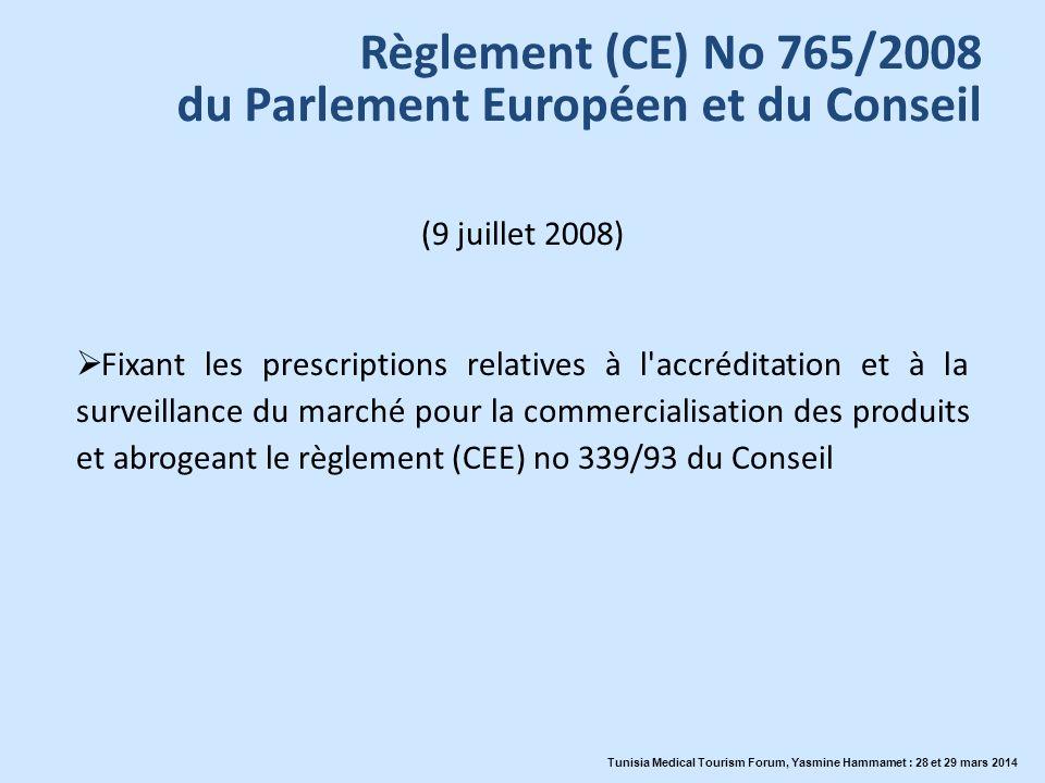 Règlement (CE) No 765/2008 du Parlement Européen et du Conseil (9 juillet 2008) Fixant les prescriptions relatives à l'accréditation et à la surveilla