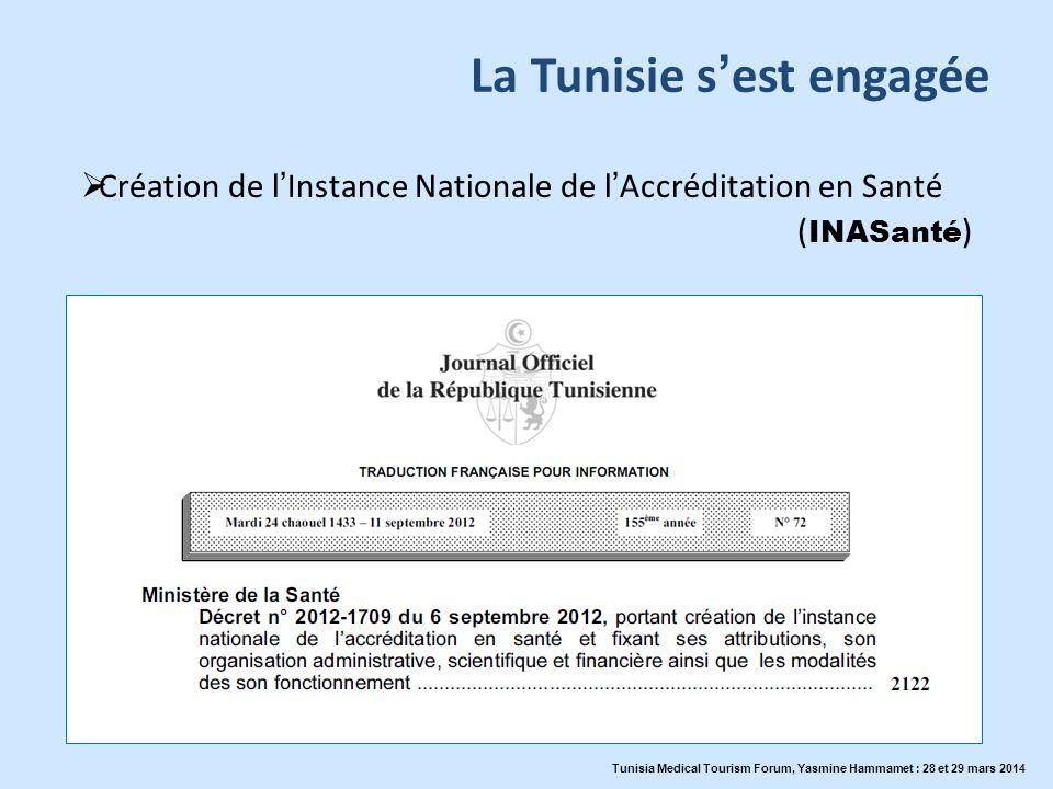 La Tunisie sest engagée Création de lInstance Nationale de lAccréditation en Santé ( INASanté ) Tunisia Medical Tourism Forum, Yasmine Hammamet : 28 e