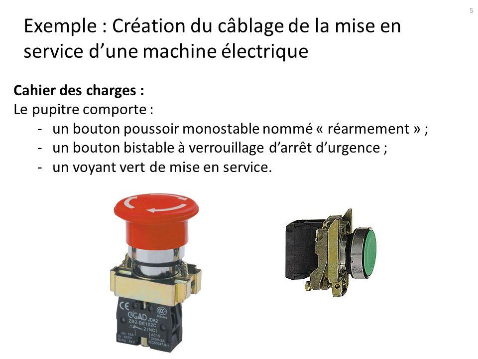 6 Exemple : Création du câblage de la mise en service dune machine électrique Cahier des charges : Le pupitre comporte : -un bouton poussoir monostable nommé « réarmement » ; -un bouton bistable à verrouillage darrêt durgence ; -un voyant vert de mise en service.