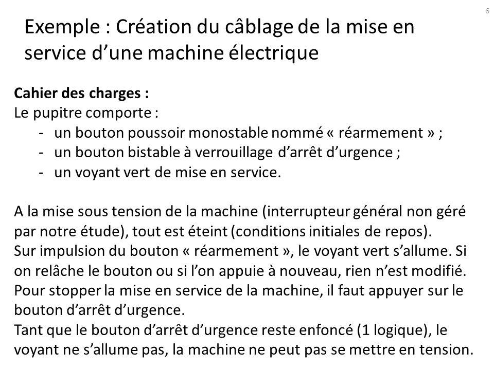Questions 1 : recenser les entrées/ sorties du système logique.