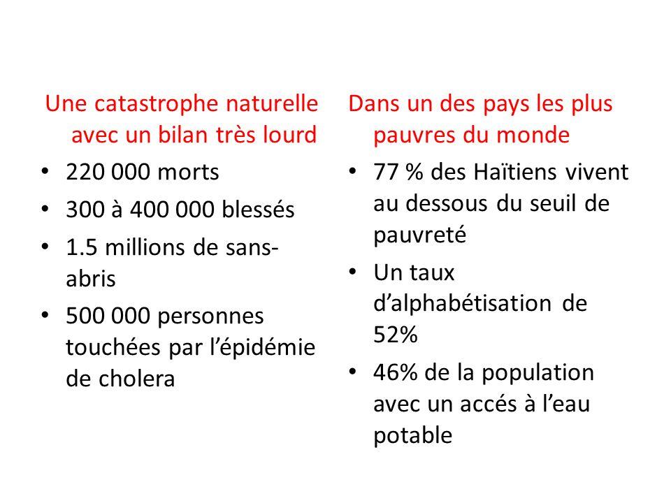 Une catastrophe naturelle avec un bilan très lourd 220 000 morts 300 à 400 000 blessés 1.5 millions de sans- abris 500 000 personnes touchées par lépi