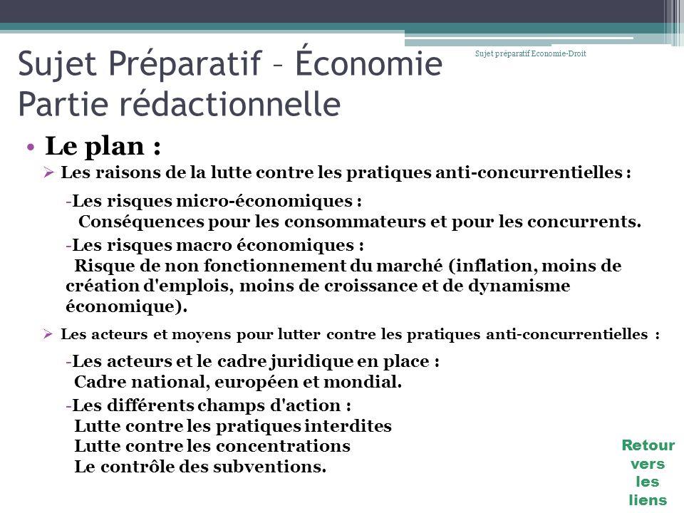 Sujet Préparatif – Économie Partie rédactionnelle Le plan : Sujet préparatif Economie-Droit Les raisons de la lutte contre les pratiques anti-concurre