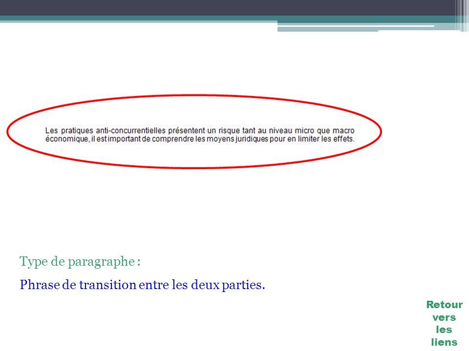 Type de paragraphe : Phrase de transition entre les deux parties. Retour vers les liens