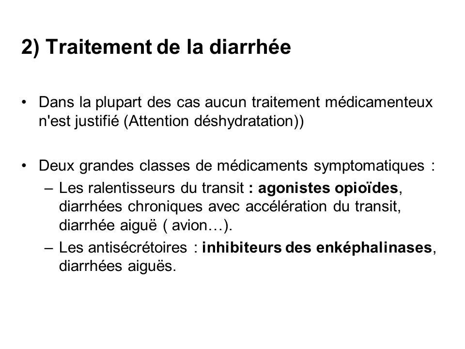 2) Traitement de la diarrhée Dans la plupart des cas aucun traitement médicamenteux n'est justifié (Attention déshydratation)) Deux grandes classes de
