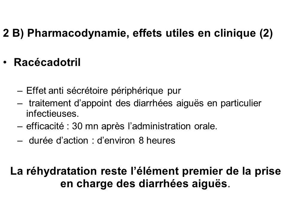 2 B) Pharmacodynamie, effets utiles en clinique (2) Racécadotril –Effet anti sécrétoire périphérique pur – traitement dappoint des diarrhées aiguës en