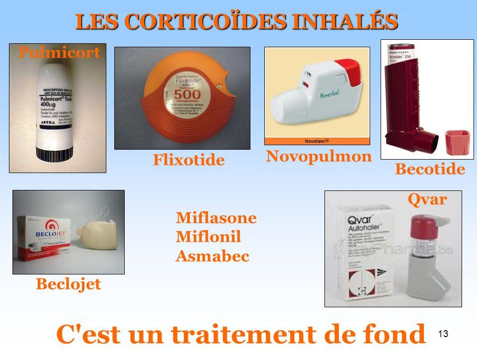 13 LES CORTICOÏDES INHALÉS C est un traitement de fond Pulmicort Flixotide Novopulmon Becotide Beclojet Qvar Miflasone Miflonil Asmabec