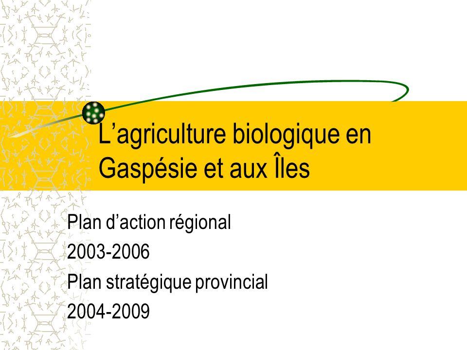 Lagriculture biologique en Gaspésie et aux Îles Plan daction régional 2003-2006 Plan stratégique provincial 2004-2009