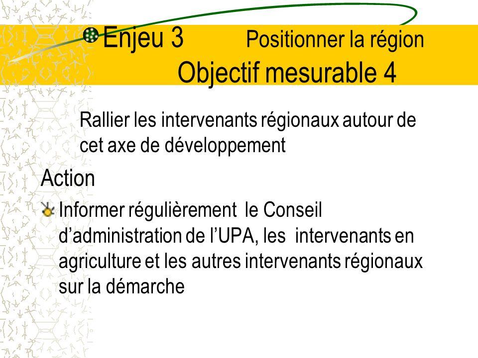 Enjeu 3 Positionner la région Objectif mesurable 4 Rallier les intervenants régionaux autour de cet axe de développement Action Informer régulièrement le Conseil dadministration de lUPA, les intervenants en agriculture et les autres intervenants régionaux sur la démarche