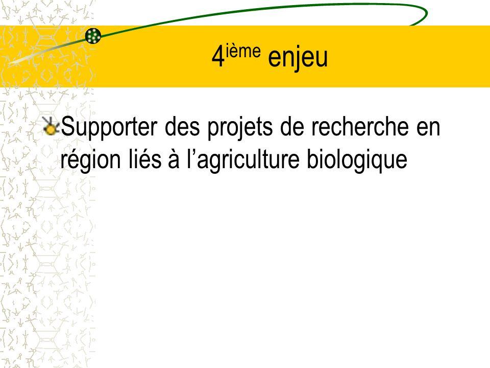 4 ième enjeu Supporter des projets de recherche en région liés à lagriculture biologique