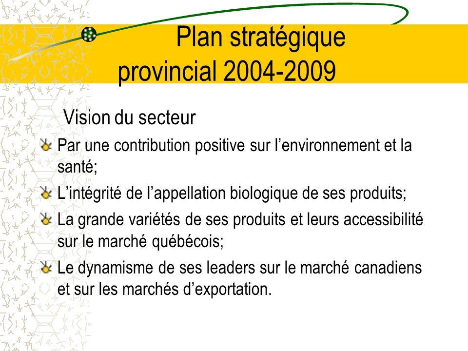 Plan stratégique provincial 2004-2009 Vision du secteur Par une contribution positive sur lenvironnement et la santé; Lintégrité de lappellation biologique de ses produits; La grande variétés de ses produits et leurs accessibilité sur le marché québécois; Le dynamisme de ses leaders sur le marché canadiens et sur les marchés dexportation.